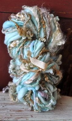 Super Bulky Curly Art Yarn Novelty Handspun Teal Grey by YOSPUN