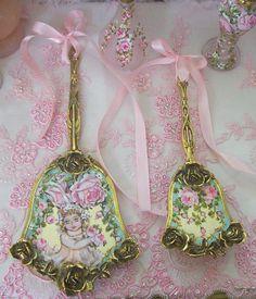 Gorgeous Vintage Cherub and Roses mirror set aqua