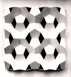 Gerard Caris, relief-sculpture made of pentagons Surface Pattern, Surface Design, Panneau Mural 3d, Paper Art, Paper Crafts, Origami And Kirigami, Paper Engineering, Arte Popular, Texture Design