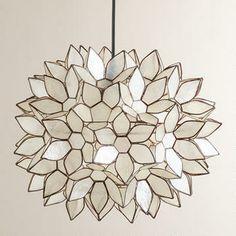 Large Capiz Lotus Hanging Pendant Lantern
