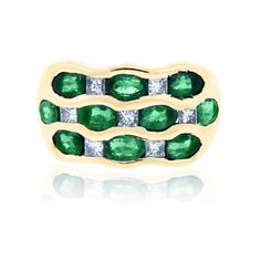 Yellow Gold Diamond Emerald Wide Ring Shop online or pick up from our Boca Raton showroom! Emerald Diamond, Diamond Rings, Gold Rings, Emerald Rings, Wide Rings, Princess Cut Diamonds, Fine Jewelry, Jewelry Rings, Antique Jewelry