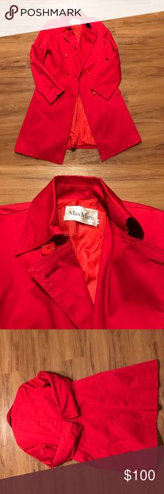 Max Mara Coat Size Medium Beautiful Max Mara trench coat! Does not have the belt.  Beautiful Red color. In great used condition- no signs of wear, stains, etc. Offers welcome! Max Mara Jackets & Coats