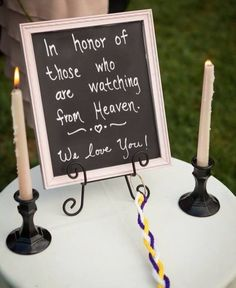 Just thinking of a way to honor those the other day at my wedding and then came across this and I love it! As well as saving them a seat. :)