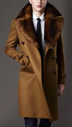 Burberry Fur Collar Military Coat in Brown for Men Sharp Dressed Man, Well Dressed Men, Coat Dress, Men Dress, Herren Outfit, Gentleman Style, Fur Collars, Mens Fur Collar Coat, Top Coat