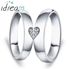 CZ Diamond Accents Two Half Hearts Puzzle Promise Rings Set for Couples, Domed Wedding Ring Band in Sterling Silver, Matching Couple Jewelry for Him and Her