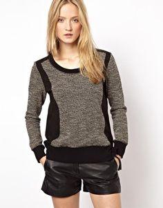 The Kooples Sport Colour Block Sweatshirt with Zip Detail