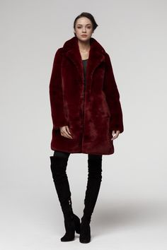 This coat is Stunning! Look at the colour - it is rich .  Only Best quality of faux fur coats  Soon to buy on Ebay Burgundy Fur Coat, Fake Fur, Fur Coats, Colour, Jackets, Stuff To Buy, Ebay, Collection, Fashion