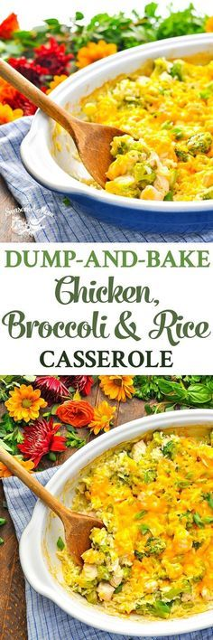 With just 5 ingredients and about 5 minutes of prep, this Dump-and-Bake Chicken Broccoli Rice Casserole is an easy dinner that cooks in one dish! 5 Ingredients or Less Recipes | Chicken Breast Recipes | One Pot Meals #chicken #chickenbreast #dinner #onepot