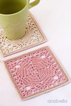 Japanese square crochet coasters, free pattern at Anabelia