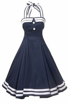 50s Sindy Doll Sailor navy swing dress