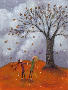 """Sisters"" by Deborah Gregg. Two little sisters twirl and dream under an Autumn sky with a snowflake or two arriving to end one season and begin another."