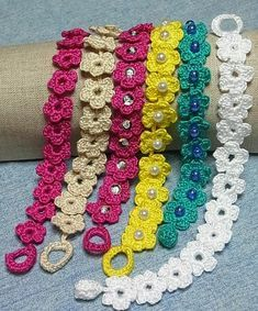 You will love this gorgeous Flower Chain Crochet Pattern and we have included an Easy Video Tutorial for you to try. Check out the ideas now. - Crochet and Knitting Patterns Crochet Cord, Crochet Mask, Crochet Bracelet, Cute Crochet, Beautiful Crochet, Crochet Crafts, Crochet Projects, Crochet Earrings, Diy Crafts