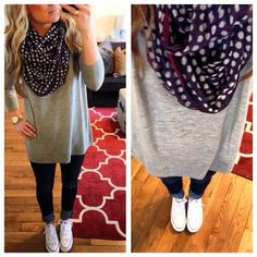 gray long sweater and adorable polka dot scarf
