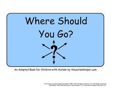 Where Should You Go? Adapted Book for Children with Autism {adapted book is great to work on the 'where' question; has 12 pages each with a hint for a different location}