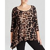 Karen Kane Plus Leopard Handkerchief Top