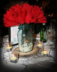 Mason jar on wood center piece