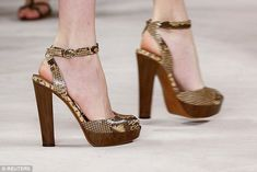 Fancy footwear: Wooden sandals in snakeskin print continued the adventure theme. High Heel Boots, Heeled Boots, Hot Shoes, Shoes Heels, Wooden Sandals, Shoe Gallery, Bride Shoes, Pretty Shoes, Dream Shoes