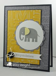 Stamps:  Zoo Babies, Dictionary Ink:  Basic Gray, Smoky Slate, Daffodil Delight Paper: Basic Gray, Smoky Slate, Daffodil Delight Coredinations, Whisper White Tools:  Big Shot, Perfect Pennants die, Alphabet Press EF, 2 1/2 circle punch Accessories:  Neutrals buttons (retired), White Baker's Twine