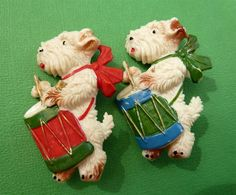 Scotties | Habadash — Cute vintage celluloid brooches - Scotties playing drums - I want these!!