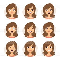 Woman emotions expression icons and beauty woman emotions vector. Isolated set of woman avatar expressions face emotions vector illustration. Mouse Illustration, People Illustration, Character Illustration, Character Symbols, Inkscape Tutorials, Emotion Faces, Human Icon, Avatar, Face Icon