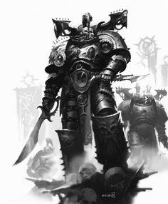 """ Emperor's Children Marine by Mikhail Savier "" Chaos 40k, Chaos Lord, Warhammer 40k Art, Warhammer Models, The Horus Heresy, The Grim, Space Marine, Military Art, Fantasy Artwork"
