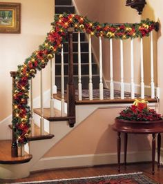 Images About Christmas Decorating Pinterest Garland For Stairs