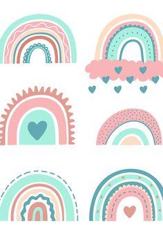 1st Birthday Girl Decorations, 1st Birthday Girls, Rainbow Nursery, Rainbow Art, Phone Wallpaper Boho, Kids Graphic Design, Baby Wall Decor, Baby Clip Art, Cute Animal Drawings