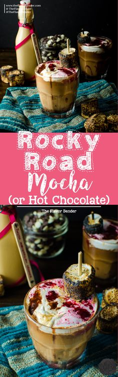Rocky Road Mocha - (or Rocky Road Hot Chocolate) - delicious indulgence of rocky road candy in hot, luscious, chocolatey drink form. A warm and deep Chocolate and coffee drink flavored with Toasted Marshmallow Creamer and topped with a Peanut Butter Marsh Pavlova, Easy No Bake Desserts, Delicious Desserts, Cupcakes, Cupcake Cakes, Chocolate Recipes, Hot Chocolate, Cocoa Recipes, Cheesecake Oreo