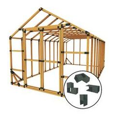 2x4 Basics Barn Roof Enclosure Kit (BRACKETS ONLY) & Reviews | Wayfair Diy Shed Kits, Storage Shed Kits, Building A Storage Shed, Wood Storage Sheds, Diy Shed Plans, Wooden Sheds, Built In Storage, Building Plans, Cabin Plans