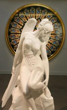 """""""Anatomy of an Angel"""" & """"Rose Window: Durham Cathedral"""" in background by Damien Hirst"""