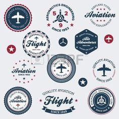 vintage airplane: Set de badges rétro cru vol aéronautique et des étiquettes Illustration