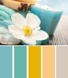 Color Inspiration: Blue Spa Just try and say this doesn't make you want to relax on a beach somewhere. Vibrant blues, a striking yellow and a relaxing feel that is perfect for wellness websites, travel brochures and more.
