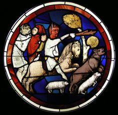 Sainte-Chapelle de Paris - Vitrail de Job - diable faisant fuir les troupeaux de Job. Panneau du XVe siècle comportant des éléments anciens, déposé au musée de Cluny.