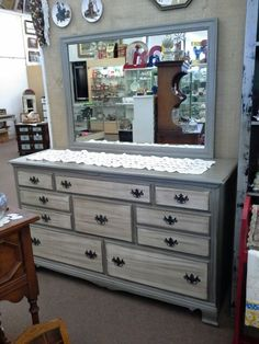 SOLD - Two tone 8 drawer dresser with mirror - This is a large 8 drawer dresser with mirror. Painted two tone and has had a dark wax hand applied. ***** In Booth A8 at Main Street Antique Mall 7260 E Main St (east of Power RD on MAIN STREET) Mesa Az 85207 **** Open 7 days a week 10:00AM-5:30PM **** Call for more information 480 924 1122 **** We Accept cash, debit, VISA, Mastercard, Discover or American Express