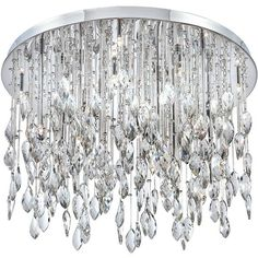 """Eurofase Vega 27"""" Wide Twist Crystal Chrome Ceiling Light (77.225.770 VND) ❤ liked on Polyvore featuring home, lighting, ceiling lights, close to ceiling lights, eurofase, chrome lighting, chrome lamp, crystal hanging lamps and crystal lamps"""