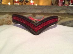 Equestrian blinged browband, dressage eventing jumper Red V Horse Browband with Red Swarovski Crystals by TheBlingedRing