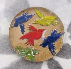 glass reverse painted intaglio birds in flight cabochon 23mm - f4218... ...beautifully hand painted in Western Germany