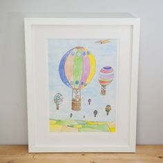 Join Samuel fox on a ride through the sky in a beautiful hot air balloon with his friends. This open edition A3 (297 x 420 mm) print is signed and printed on high quality GF Smith 260g paper. It will come cello wrapped and carefully packaged to ensure it arrives with you in perfect condition.Also available as a greetings card.This product is in stock and ready to ship internationally in 1-2 business days.FREE UK SHIPPING!If you would like a frame for your print a...