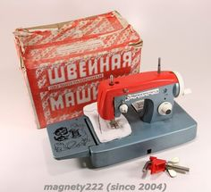 per piccole sartine <3  Hand Crank Sewing Machine Vintage Soviet Russian Kid Child's Toy Small BOXED
