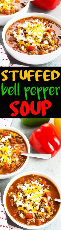 Stuffed Bell Pepper Soup - All of your favorite stuffed pepper ingredients in a no-fuss and comforting soup!
