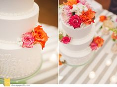 Wedding Cake: Mint Green and Coral
