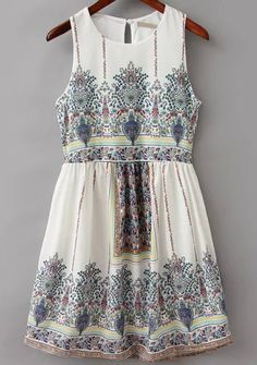 Shop White Sleeveless Vintage Floral Dress online. SheIn offers White Sleeveless Vintage Floral Dress & more to fit your fashionable needs.