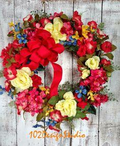 Spring Wreath Spring Floral Wreath Memorial by 102DesignStudio