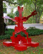 """Puzzle Again, a 84"""" h x 80"""" w x 63"""" d scrap metal sculpture created by Carole Eisner in 2010"""