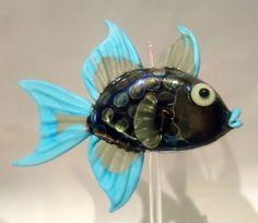 Debcrowley Lampwork Glass Niger Trigger Fish Bead w Display Stand Exquisite Fish | eBay