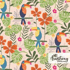 Neo Rainforest.  Tropical surface pattern design with Toucans by Mel Armstrong