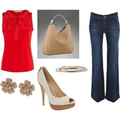 A beautiful summer look - I love the red top paired with the dark jeans. The khaki and gold tones compliment the outfit without overpowering it. Love!