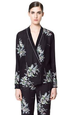 PRINTED SILK BLOUSE from Zara  - I'm so into printed pajama suit look this season!