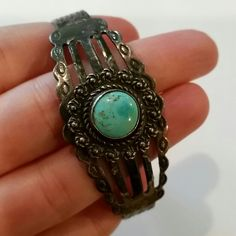 """Vintage Fred Harvey Era Sterling Cuff Bracelet Such a  great cuff, small Turquoise center with an ornate border. Great for a smaller wrist 6"""" opening on back is 1 1/2"""" Sterling silver, I believe this is from the 50's or 60's. Definitely the Fred Harvey Era. Vintage Jewelry Bracelets"""