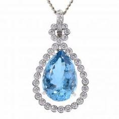 9bc7c8448 Estate Aquamarine Diamond 18K Gold Dangle Drop Pendant item# LSWA-8  $7,450.00 #aquamarine